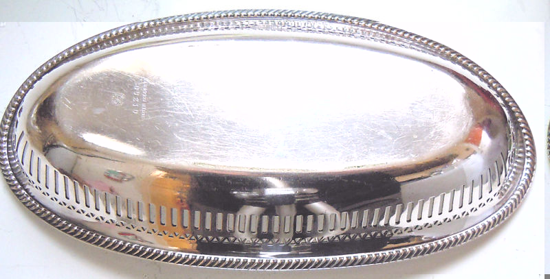 us navy silverplated bread or roll server