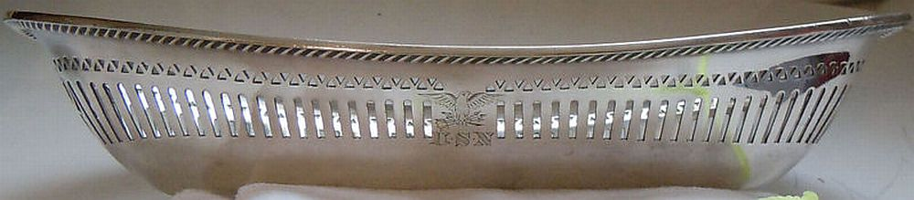 early 1900's to 1940's US Navy Captains Cabin Mess Silverplated Filigree Bread Basket with Eagle Clutching Arrows and USN Monogram topmark insignia