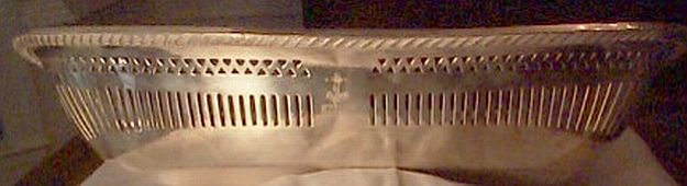 early 1900's to 1940's US Navy Bread Basket Dish Silverplated Filigree with Fouled Anchor and USN topmark insignia