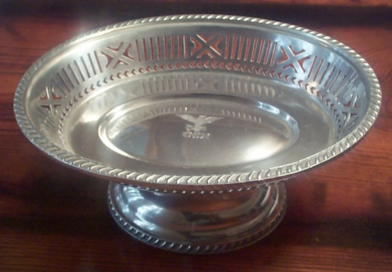early 1900's US Navy Candy Dish Silverplate Filigree for Captain's Mess and Wardroom