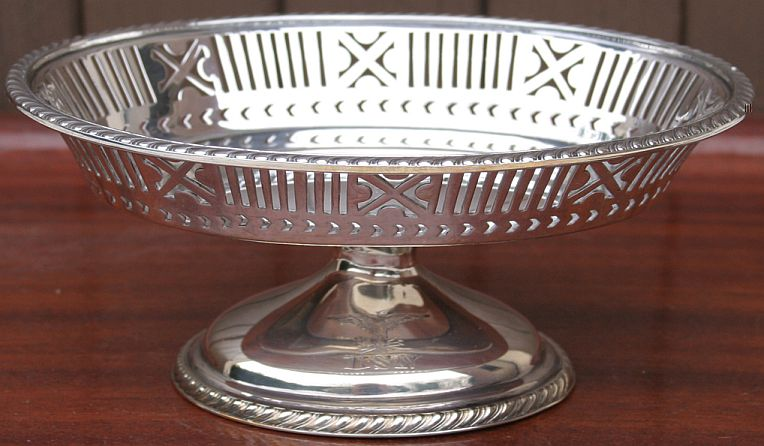 early 1917 WWI US Navy Candy Dish Silverplate Filigree for Captain's Mess