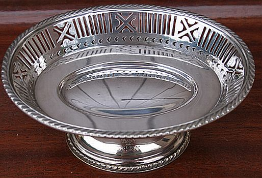 captains cabin candy dish, silverplated holloware