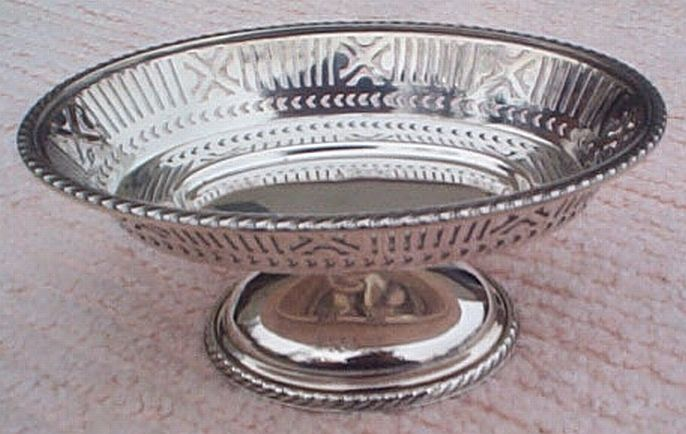 1917 WWI US Navy Candy Dish Silverplate Filigree for 2 Star Rear Admiral's Mess Cabin