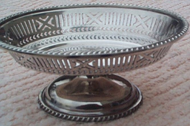 early 1900's US Navy Candy Dish Silverplate Filigree for Wardroom Officers