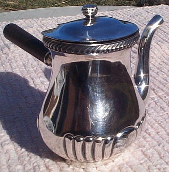 1941 US Navy Captains Mess Tabletop Coffee or Tea Server and Handle with Federal Eagle Clutching Arrows and USN topmark insignia