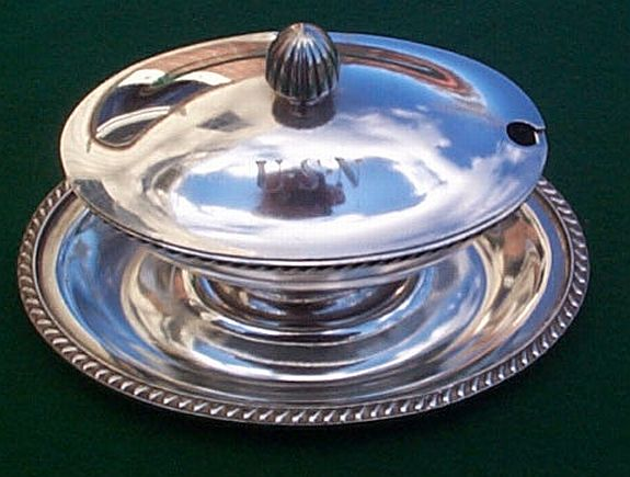 1900s 1940s US Navy Gravy Boat Silverplate Warrant Officers Mess