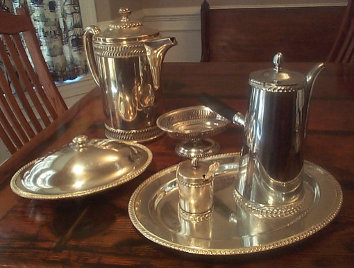 typical early 1900's to 1940's US Navy Officer's Wardroom Serving Pieces