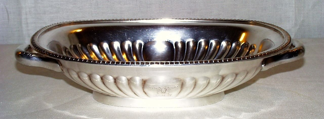 1942 US Navy Captains Mess Serving Dish with Handles, War Eagle and USN topmark
