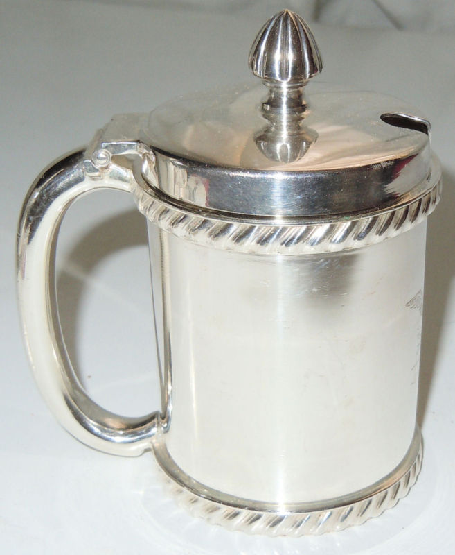 captains cabin mess silverplated us navy mustard pot or jam and jelly jar