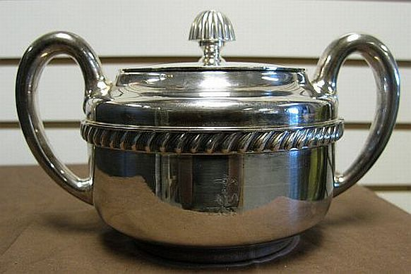 WWII 1942 US Navy Sugar Bowl Silverplated for Officer's Mess and Wardroom