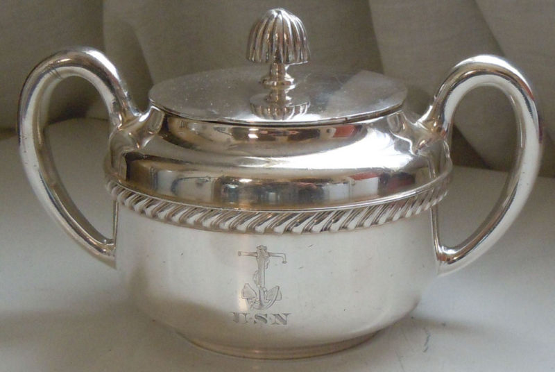 WWII 1944 US Navy Sugar Bowl Silverplated Backstamped USN for Officer's Mess and Wardroom