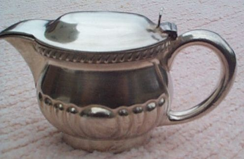 1940s US Navy Wardroom Officers Mess Lidded Table Creamer with Fouled Anchor and USN topmark