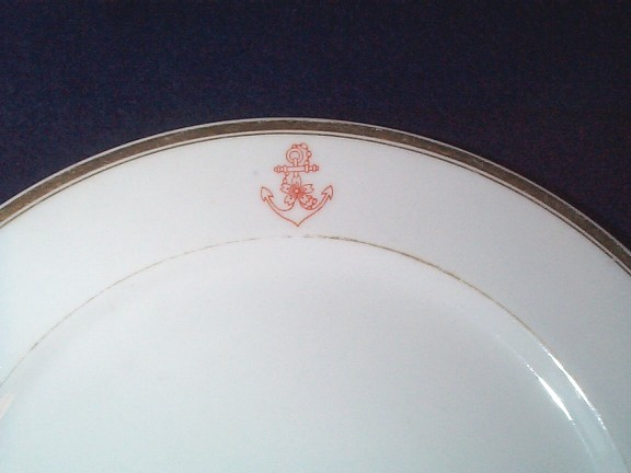 imperial japanese navy china dinner plate with fouled anchor and cherry blossom, top