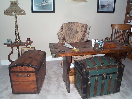 nautical home office with liberty ship wooden hatch cover desk and pirate treasure chest