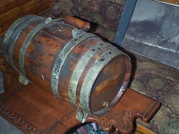 Antique Water Keg or Water Cask, Squat, Single Handle, with Feet