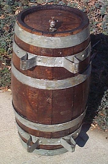 wooden  rum or grog barrel,  casks or water kegs