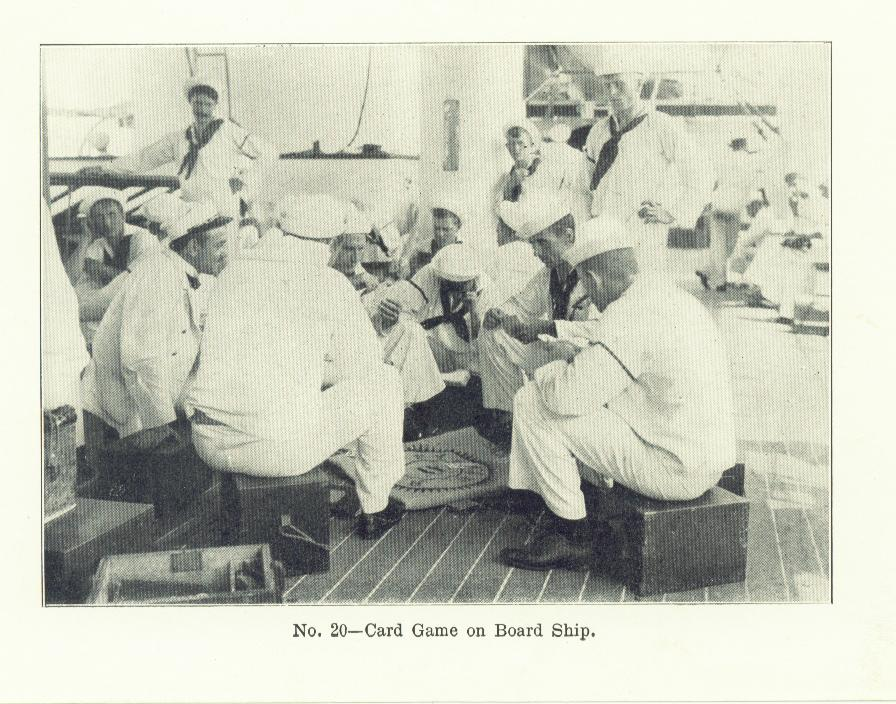 photograph of sailors aboard ship playing dice games while sitting on their ditty boxes ca 1890s Spanish American War to early 1900s Great White Fleet