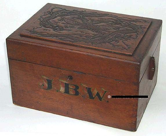 Antique Great White Fleet era 1902-1906 non-regulation Ditty Box, Sea Chest or Sea Trunk