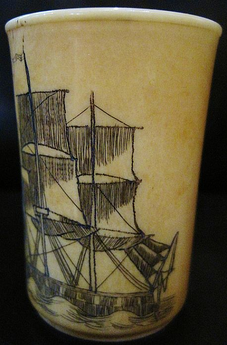 Antique Scrimshaw USS Decatur Sloop of War 1839-1865