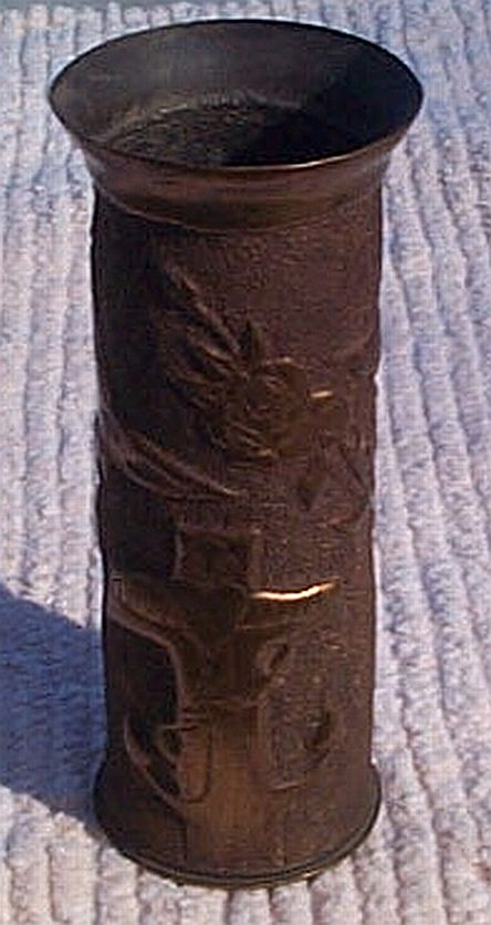 Antique US Navy Trenchart Vase From a 3 Inch Brass Shell Dated 1917 WWI
