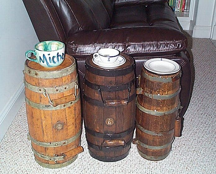Turned on end these casks make for functional nautical end tables!