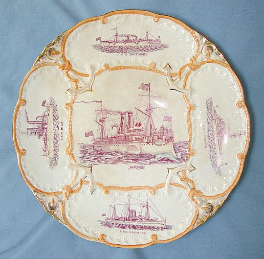 us navy great white fleet platter ca 1906-1909
