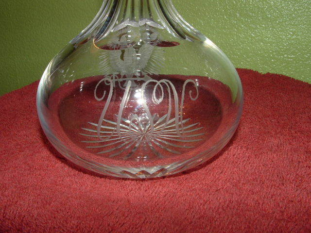 Crystal Decanter Great White Fleet and WWI Era with USN insignia and inscription