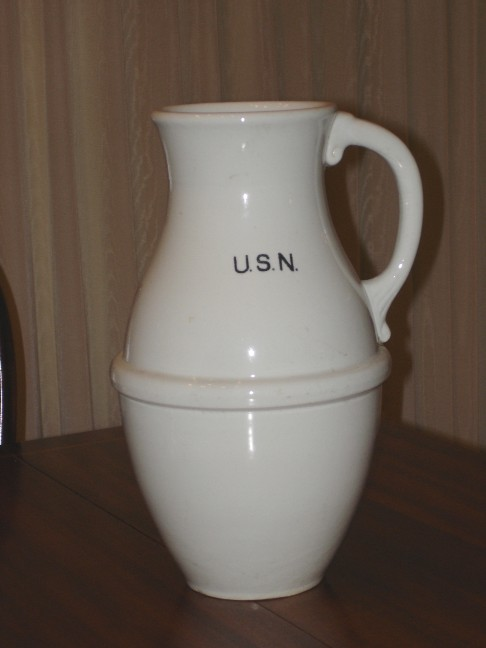 US Navy Enlisted China Pitcher ca late 1870's to early 1900