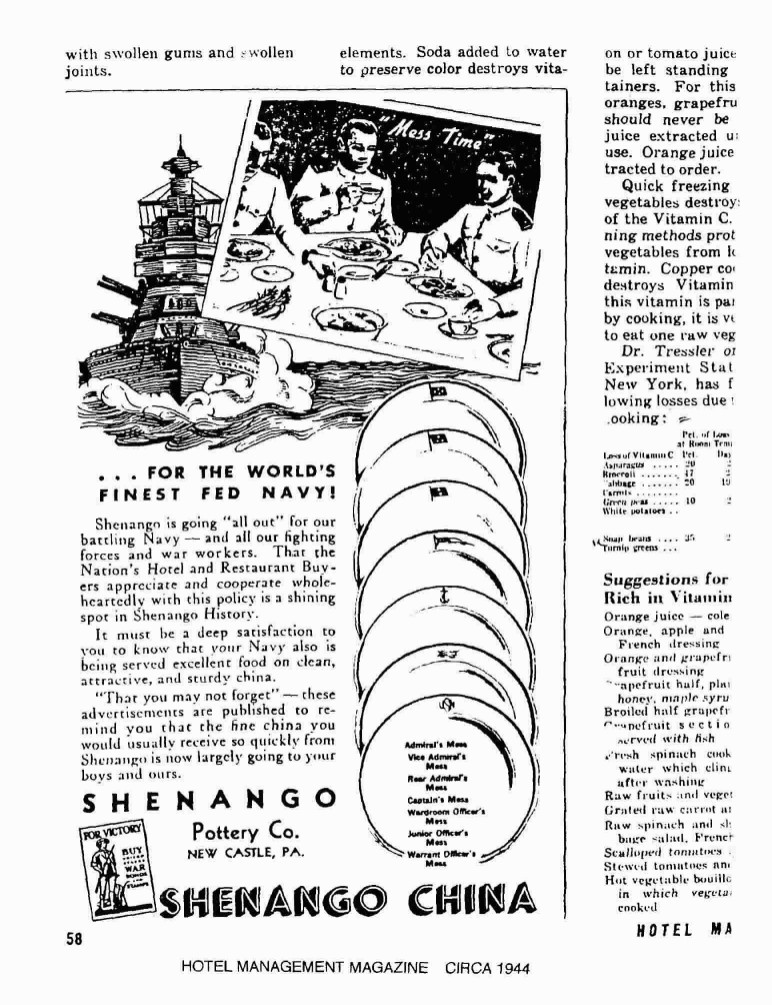 Shenango China WWII 1944 Hotel Digest Advertisement for US Navy China by Rank and Insiginia