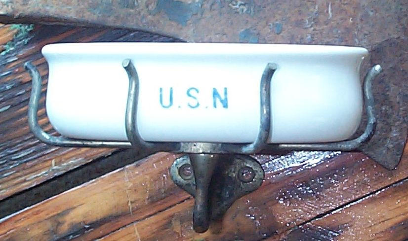 navy soap dishes stamped USN with wall mounting bracket