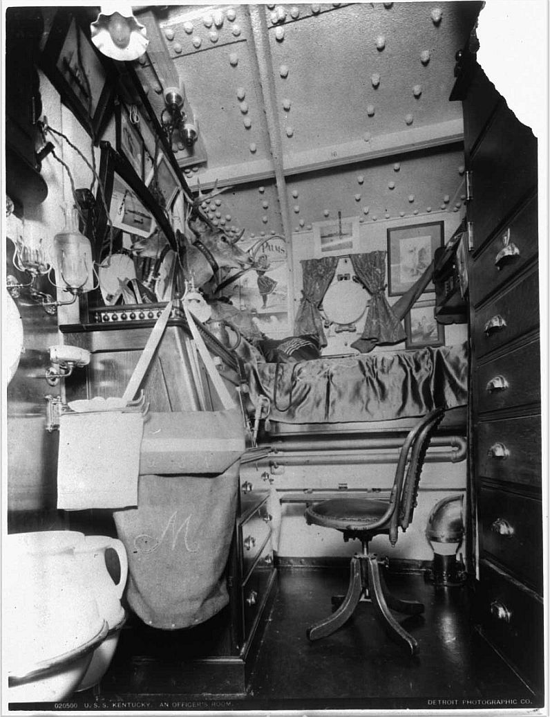showing hygieneware aboard late 19th century naval ship