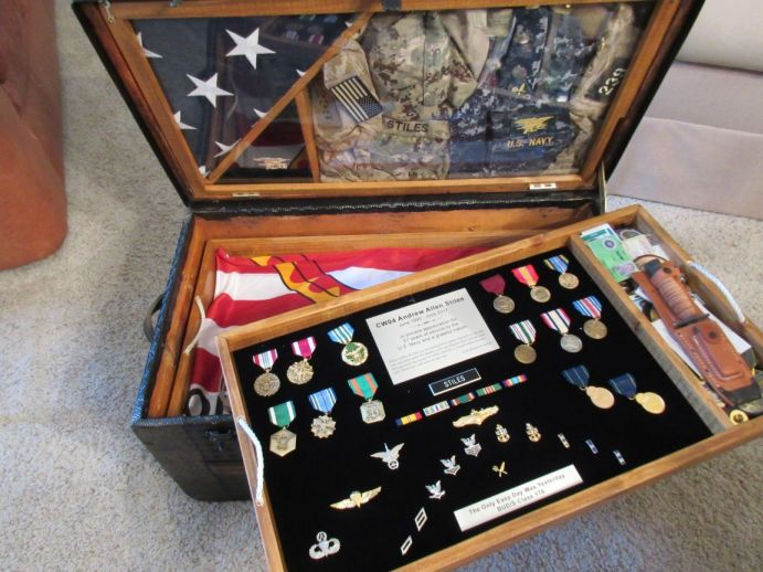 Antique Trunk Navy Retirement Shadow Box Idea Gift for Seal Team member