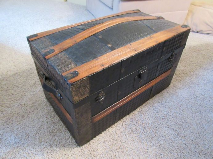 Antique Trunk Used as Navy Retirement Shadow Box Idea Gift for Seal Team member