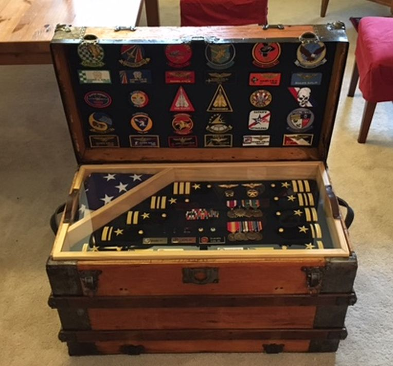 Restored Antique Trunk Used USAF US Air Force Army Retirement Shadow Box and Storage Chest ... & Army Navy Retirement Shadow Box ideas or Military Shadow box Idea as ...