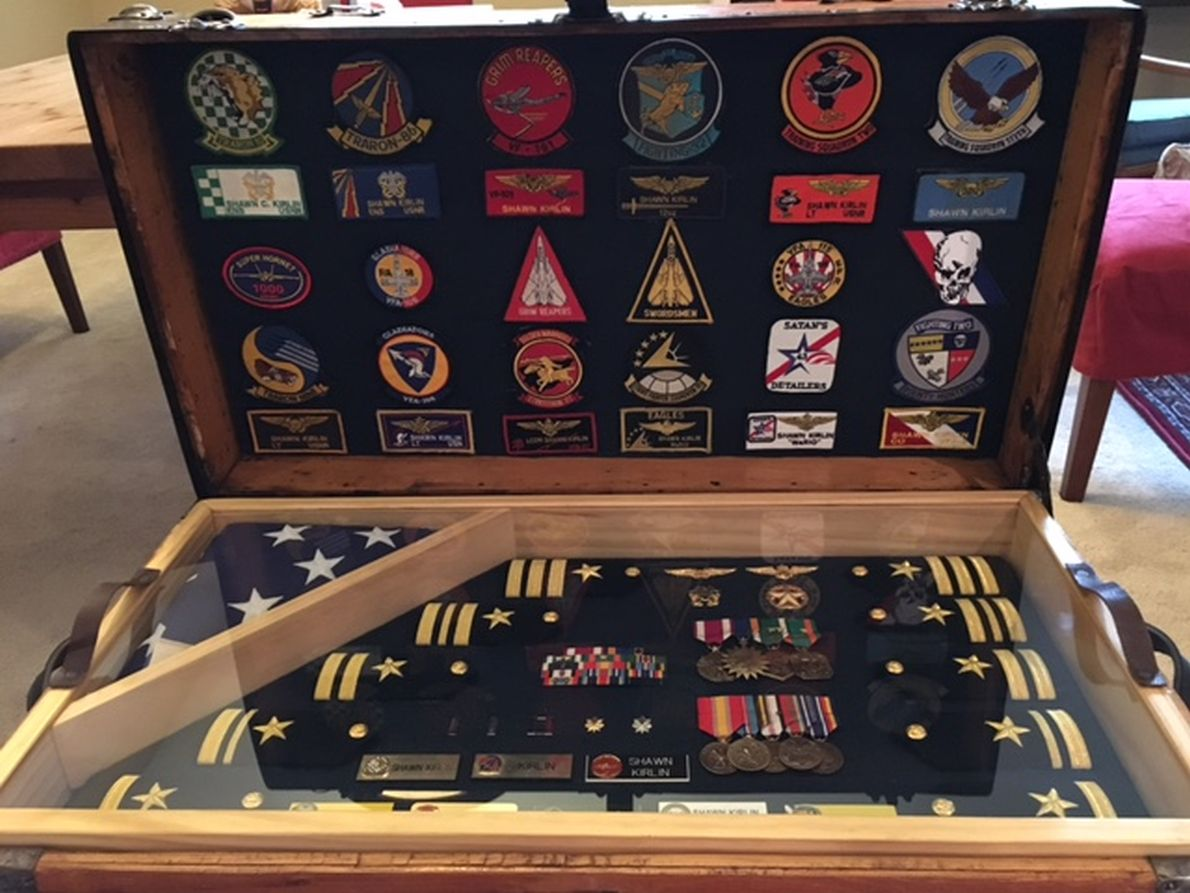 Antique Trunk Used as USAF US Air Force and Army Retirement Shadow Box and Storage Chest