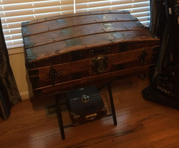 Antique Trunk Used as Navy Retirement Shadow Box Idea