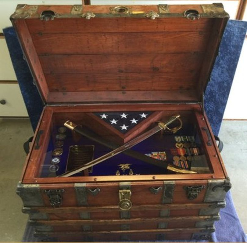 Antique Trunk Navy Retirement Gift for Seal Team Senior Chief Petty Officer with Cutlass