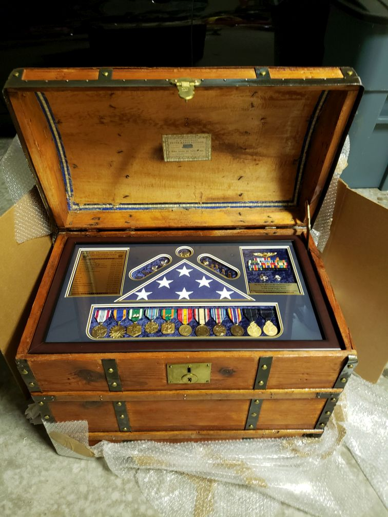 ee87d9b81db Antique Trunk  785 Used as Navy Retirement Shadow Box Idea for a fighter  pilot