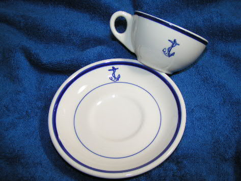 cup saucer with anchor navy china