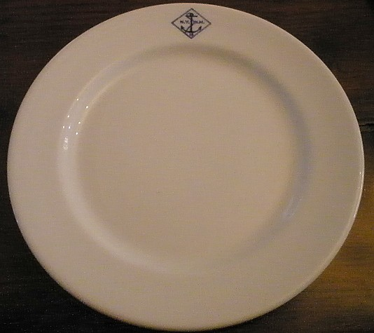 NY Naval Militia Dinner Plate Plain White Body