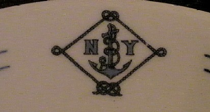 NY Naval Militia Dinner Plate with Blue Striping, Topmark NYNM