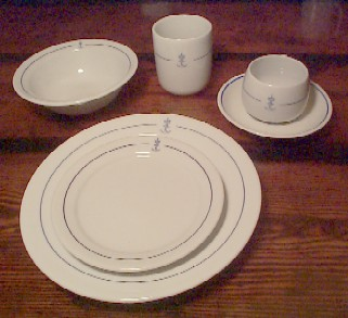 royal norwegian navy china 13 piece placesetting, norwegian dinnerware