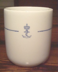 royal norwegian china navy watchstanding mug no handles, handless, norwegian china