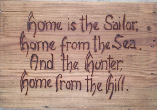 home is the sailor, home from the Sea