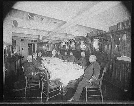 USS Oregon Officer Wardroom Mess - Steward in Background