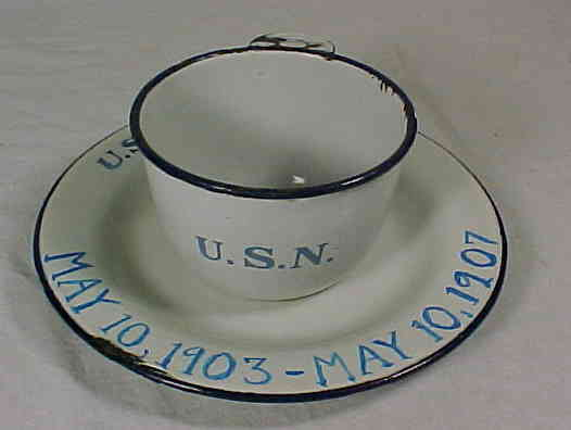 White Porcelain on Metal Graniteware or Enamelware US Navy Enlisted Mess Plate and Cup dated 1903-1907 with photo of sailor who served aboard the USS Buffalo