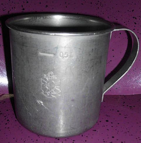 polish navy aluminum mess cup with handle