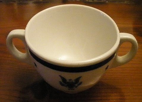 navy Senior officer bouillon or broth cup, eagle with usn