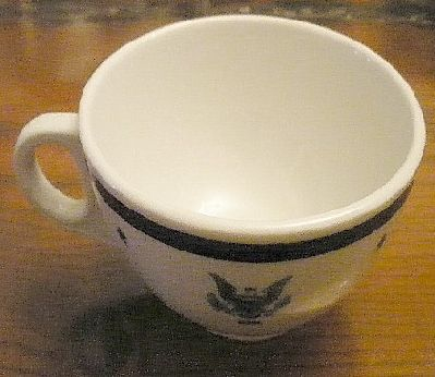 navy Senior officer coffee cup, eagle with usn
