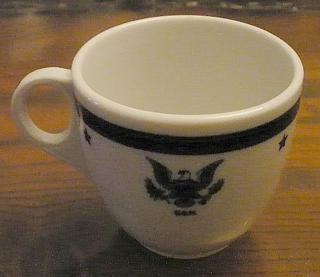 navy Senior officer demitasse coffee cup, eagle with usn